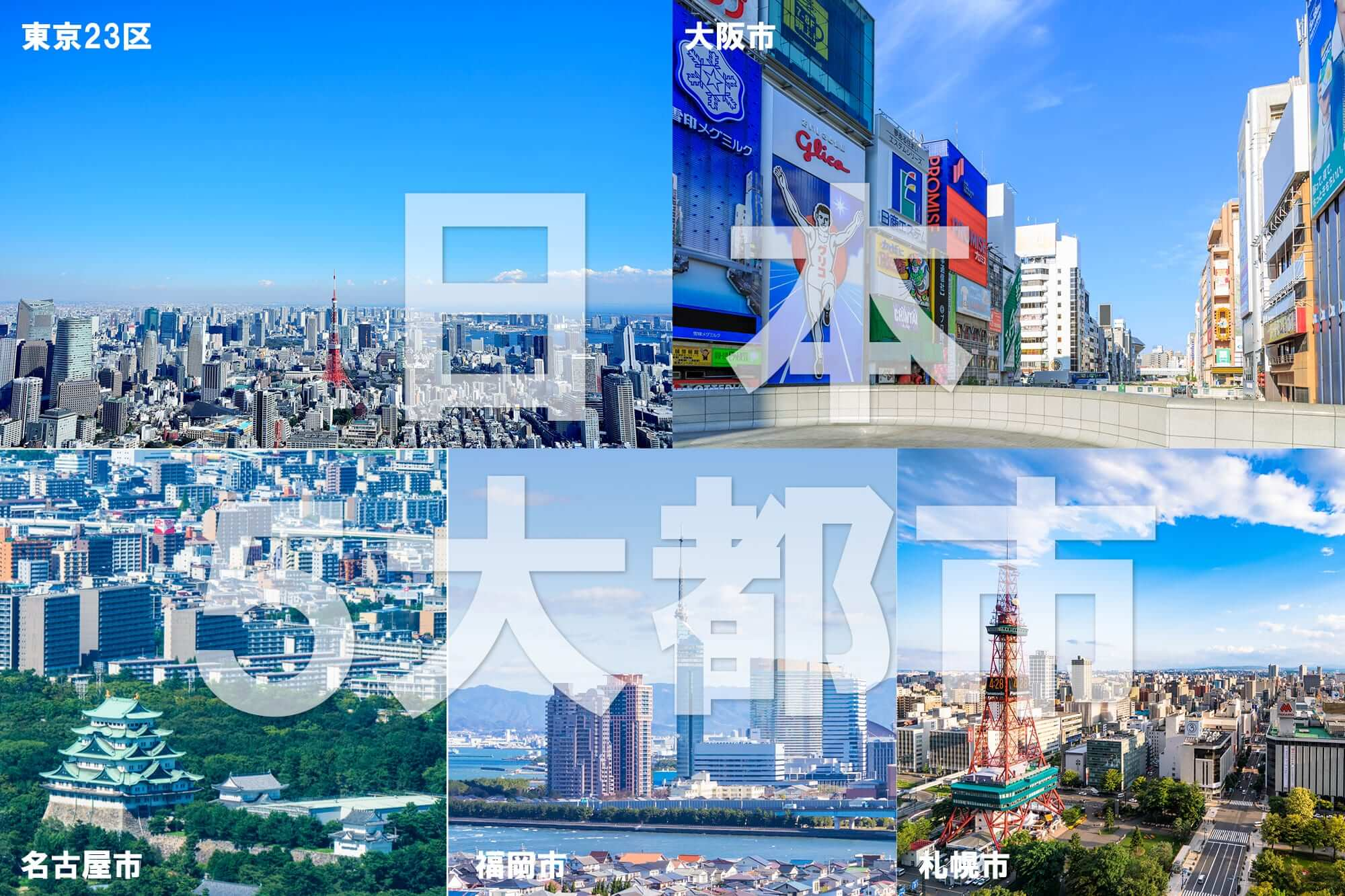日本5大都市 東京・札幌・名古屋・大阪・福岡