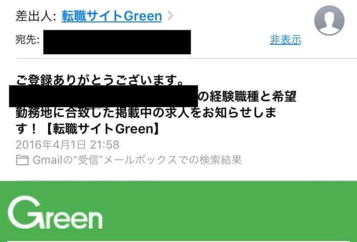 Greenからのメール