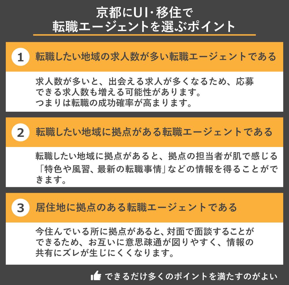 京都へUI移住で転職エージェントを選ぶポイント